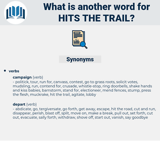hits the trail, synonym hits the trail, another word for hits the trail, words like hits the trail, thesaurus hits the trail