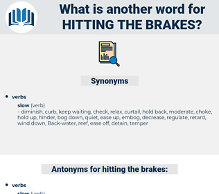 hitting the brakes, synonym hitting the brakes, another word for hitting the brakes, words like hitting the brakes, thesaurus hitting the brakes