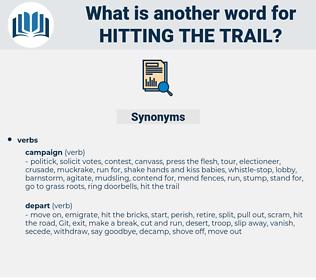 hitting the trail, synonym hitting the trail, another word for hitting the trail, words like hitting the trail, thesaurus hitting the trail