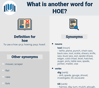 hoe, synonym hoe, another word for hoe, words like hoe, thesaurus hoe