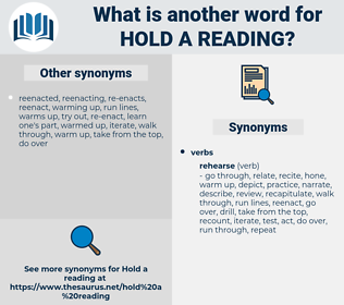hold a reading, synonym hold a reading, another word for hold a reading, words like hold a reading, thesaurus hold a reading