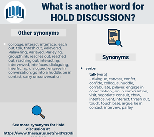 hold discussion, synonym hold discussion, another word for hold discussion, words like hold discussion, thesaurus hold discussion