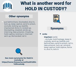 hold in custody, synonym hold in custody, another word for hold in custody, words like hold in custody, thesaurus hold in custody