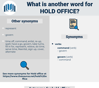 hold office, synonym hold office, another word for hold office, words like hold office, thesaurus hold office