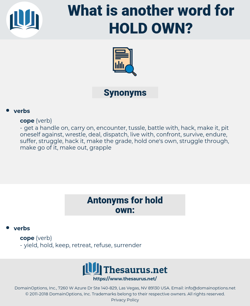 hold own, synonym hold own, another word for hold own, words like hold own, thesaurus hold own