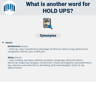 hold-ups, synonym hold-ups, another word for hold-ups, words like hold-ups, thesaurus hold-ups