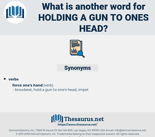 holding a gun to ones head, synonym holding a gun to ones head, another word for holding a gun to ones head, words like holding a gun to ones head, thesaurus holding a gun to ones head