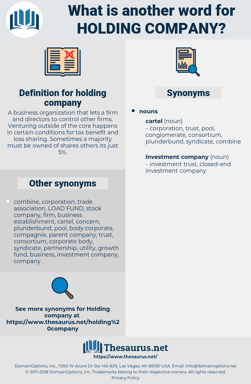 Synonyms for HOLDING COMPANY - Thesaurus net