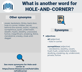 hole-and-corner, synonym hole-and-corner, another word for hole-and-corner, words like hole-and-corner, thesaurus hole-and-corner