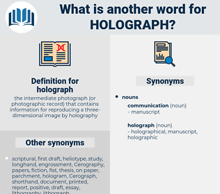 holograph, synonym holograph, another word for holograph, words like holograph, thesaurus holograph