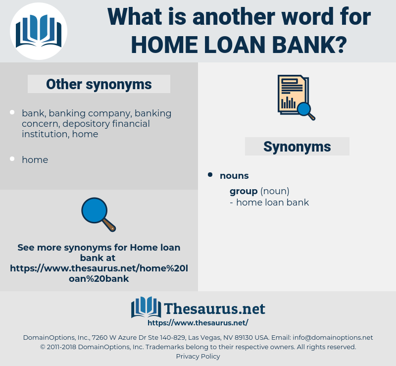 home loan bank, synonym home loan bank, another word for home loan bank, words like home loan bank, thesaurus home loan bank