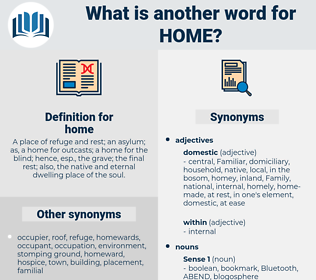 home, synonym home, another word for home, words like home, thesaurus home