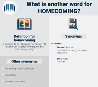 homecoming, synonym homecoming, another word for homecoming, words like homecoming, thesaurus homecoming