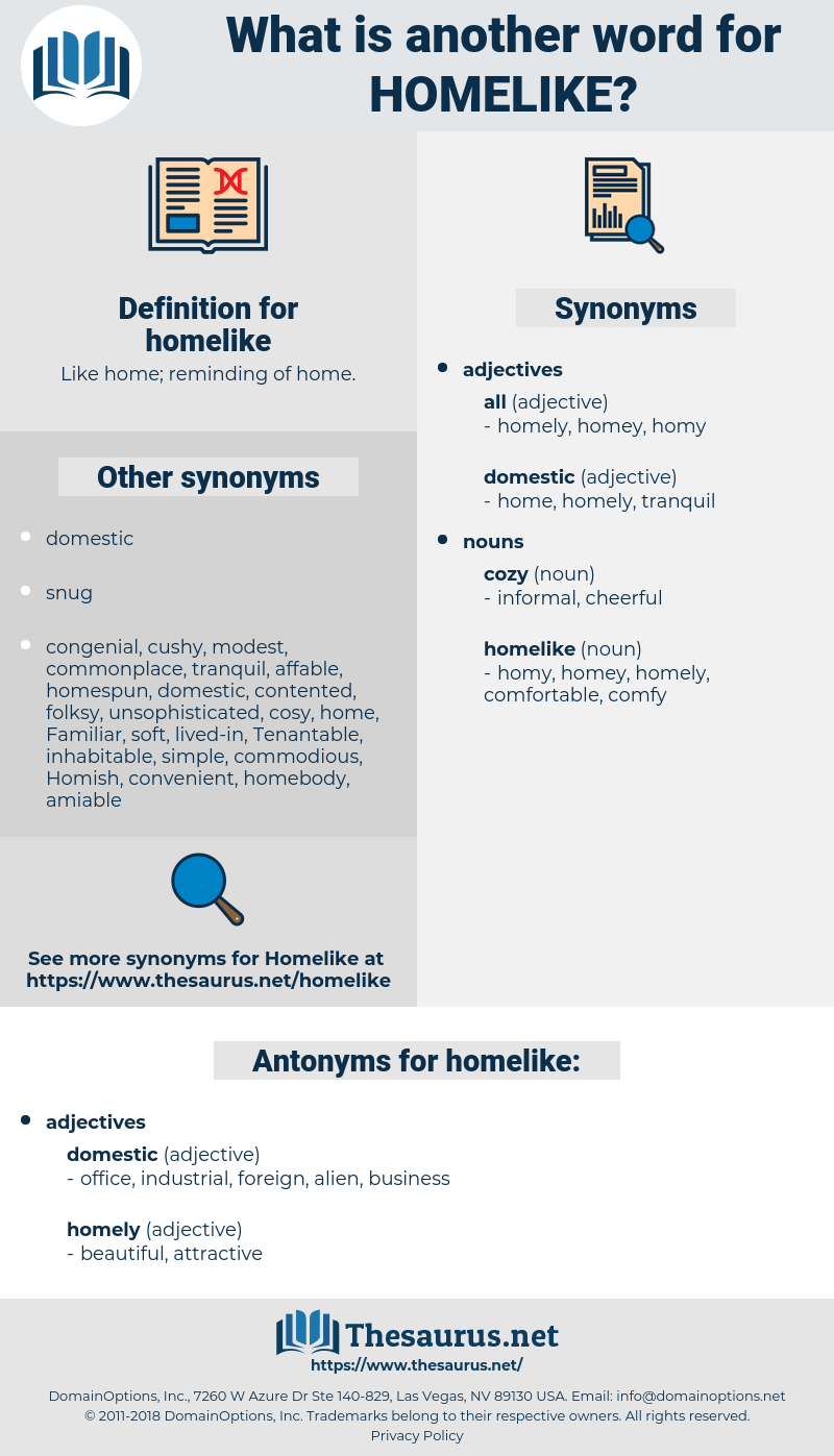 homelike, synonym homelike, another word for homelike, words like homelike, thesaurus homelike