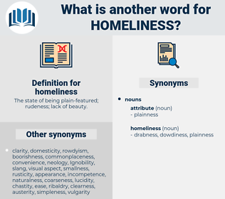 homeliness, synonym homeliness, another word for homeliness, words like homeliness, thesaurus homeliness
