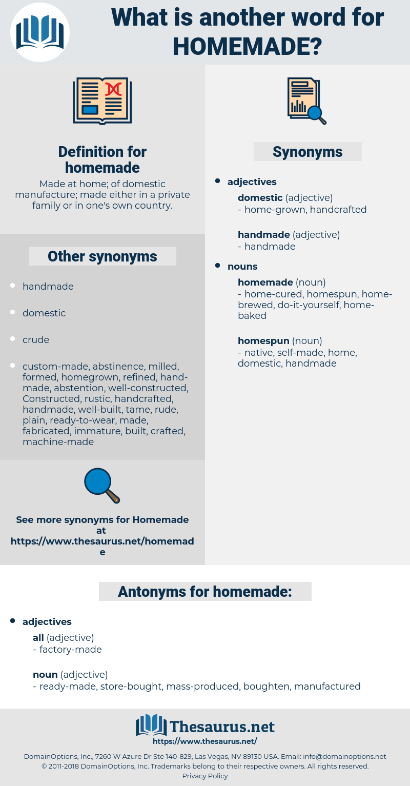 homemade, synonym homemade, another word for homemade, words like homemade, thesaurus homemade