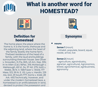 homestead, synonym homestead, another word for homestead, words like homestead, thesaurus homestead