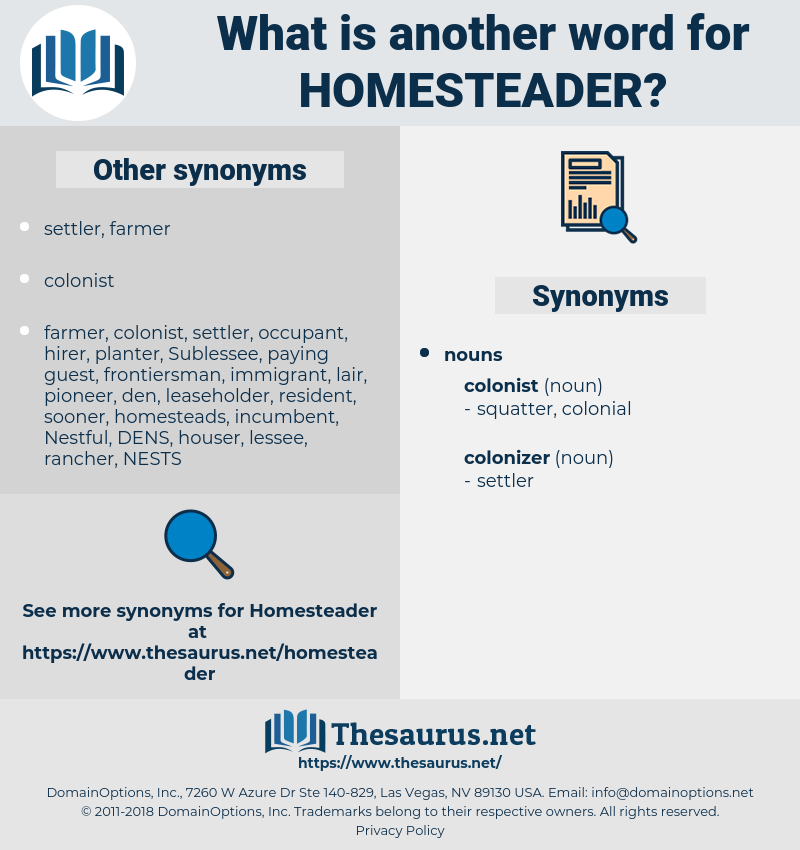 homesteader, synonym homesteader, another word for homesteader, words like homesteader, thesaurus homesteader