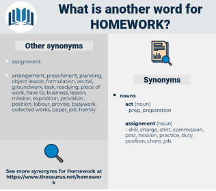homework, synonym homework, another word for homework, words like homework, thesaurus homework