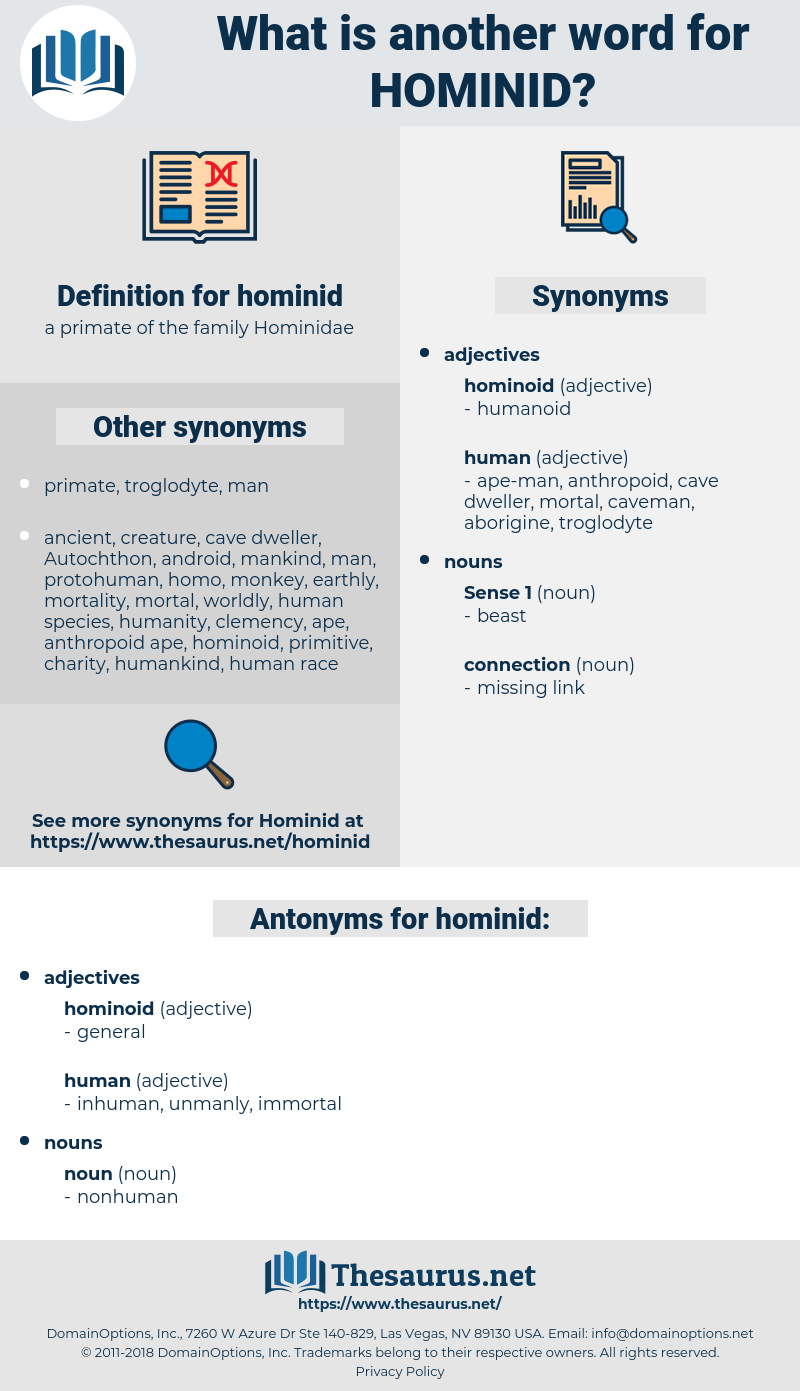 hominid, synonym hominid, another word for hominid, words like hominid, thesaurus hominid