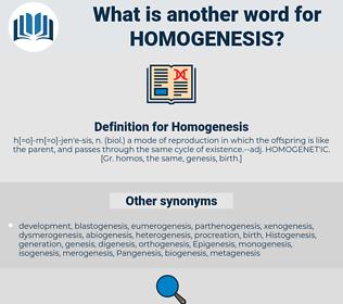 Homogenesis, synonym Homogenesis, another word for Homogenesis, words like Homogenesis, thesaurus Homogenesis