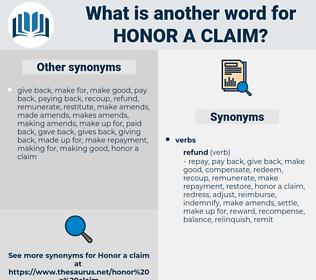 honor a claim, synonym honor a claim, another word for honor a claim, words like honor a claim, thesaurus honor a claim