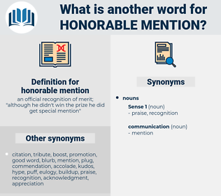 honorable mention, synonym honorable mention, another word for honorable mention, words like honorable mention, thesaurus honorable mention