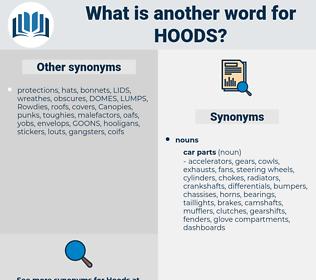 hoods, synonym hoods, another word for hoods, words like hoods, thesaurus hoods