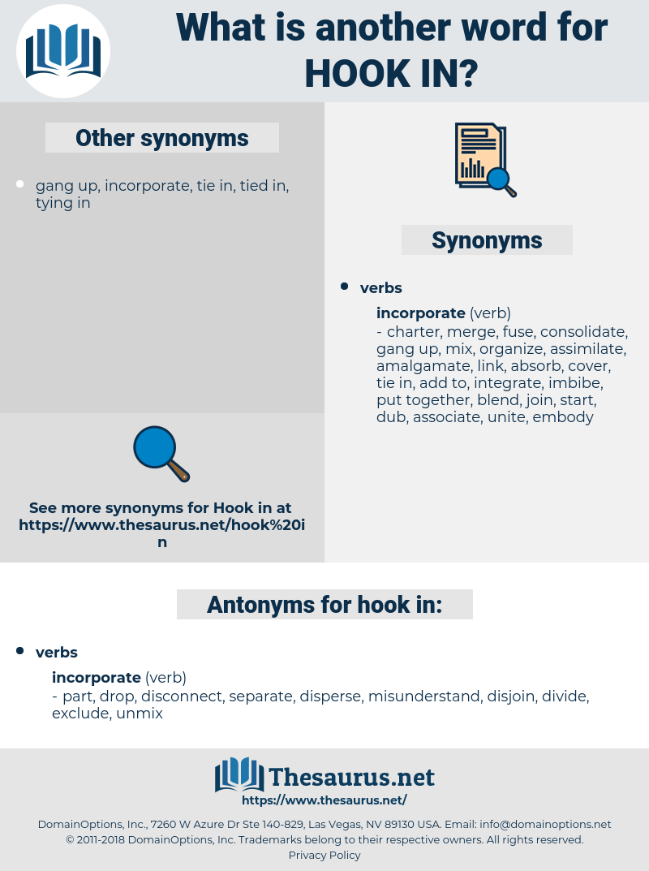 hook in, synonym hook in, another word for hook in, words like hook in, thesaurus hook in