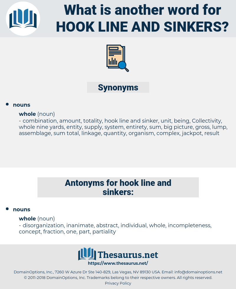 hook line and sinkers, synonym hook line and sinkers, another word for hook line and sinkers, words like hook line and sinkers, thesaurus hook line and sinkers