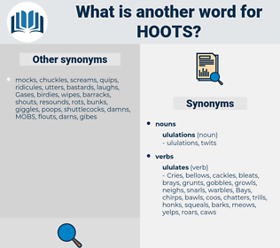 hoots, synonym hoots, another word for hoots, words like hoots, thesaurus hoots