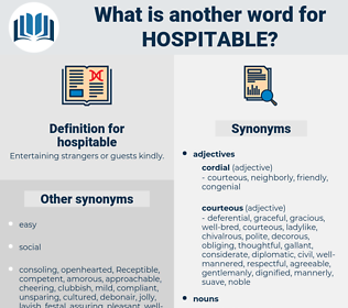 hospitable, synonym hospitable, another word for hospitable, words like hospitable, thesaurus hospitable