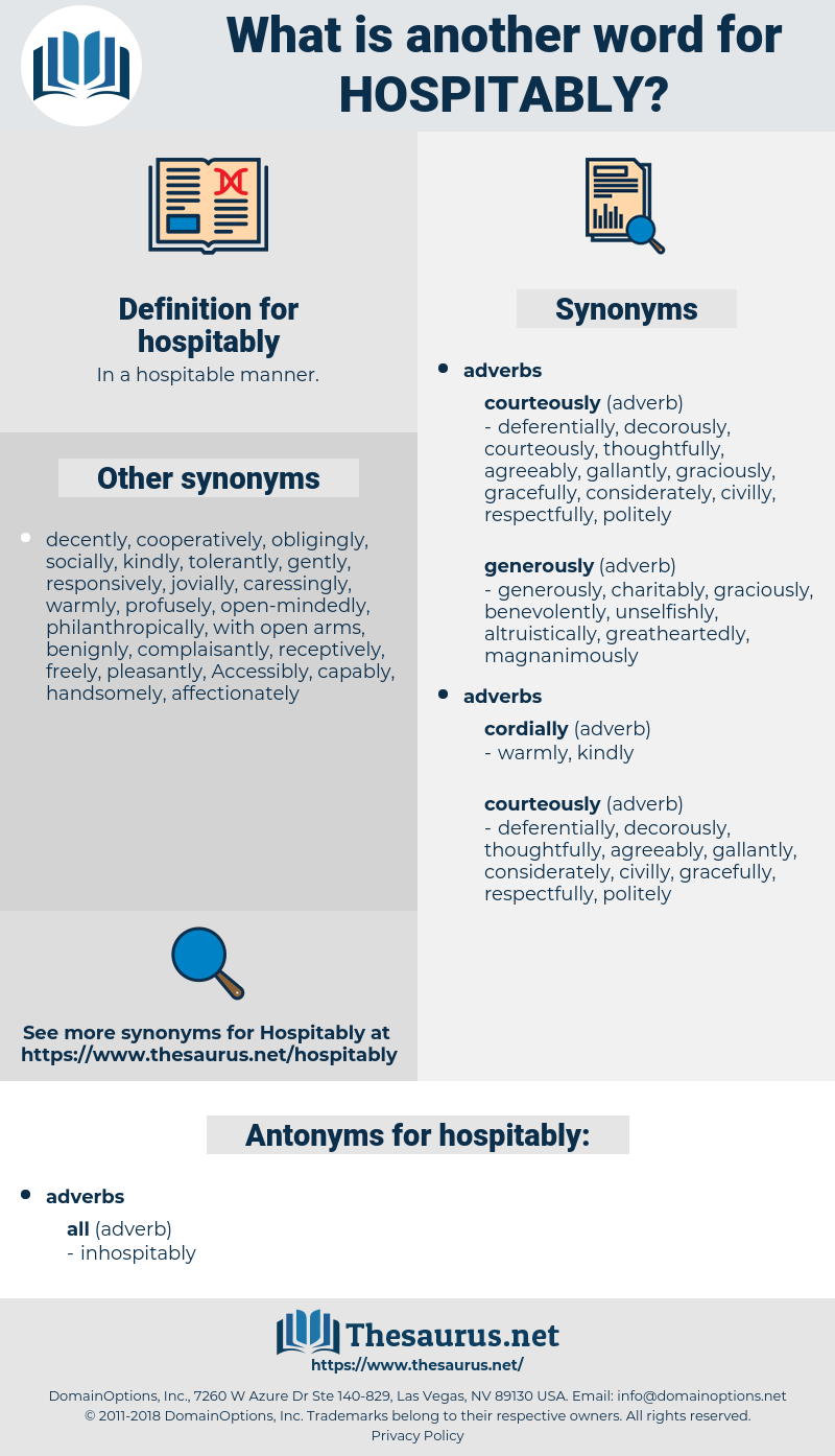 hospitably, synonym hospitably, another word for hospitably, words like hospitably, thesaurus hospitably