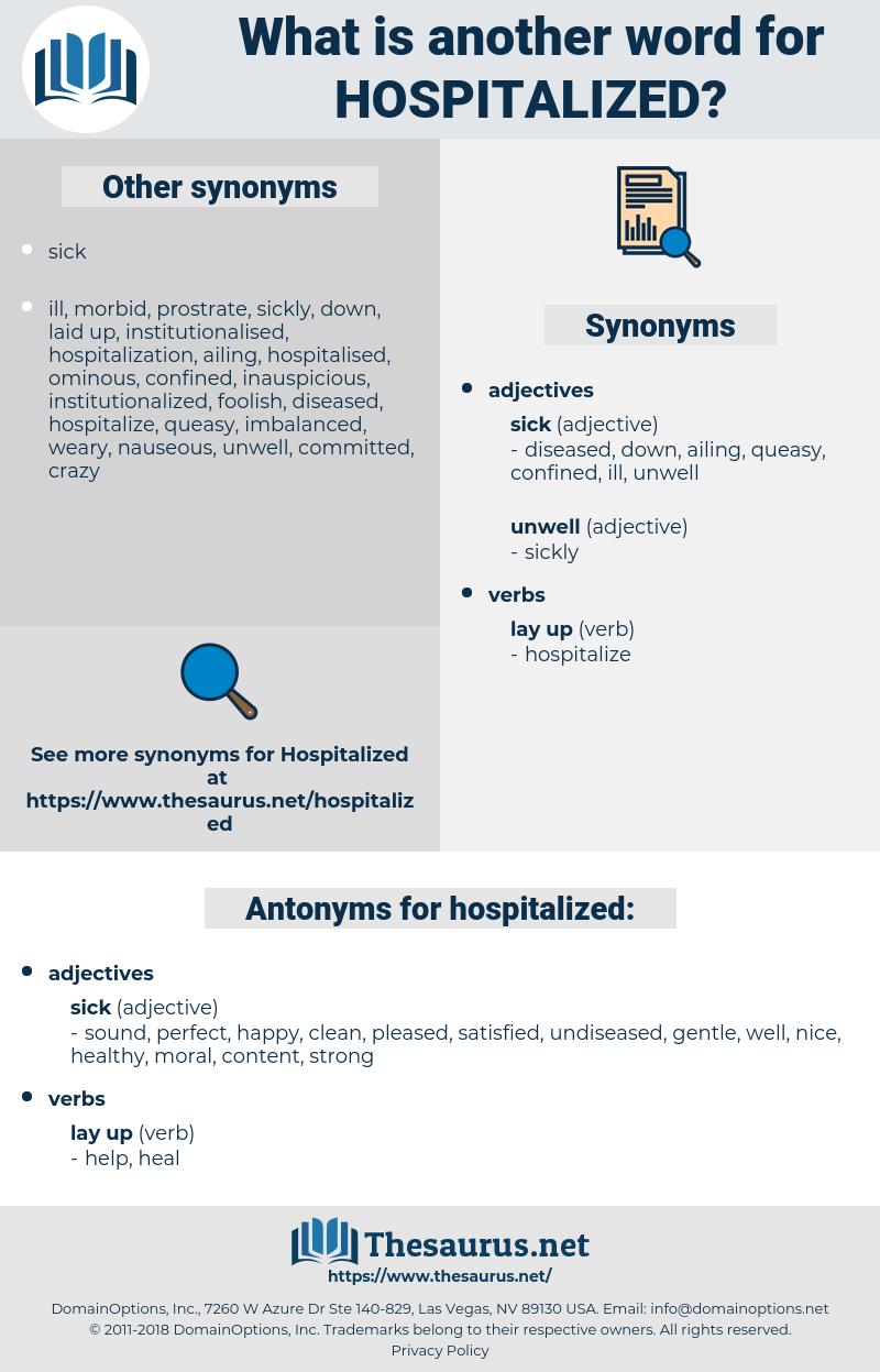 hospitalized, synonym hospitalized, another word for hospitalized, words like hospitalized, thesaurus hospitalized