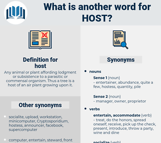 host, synonym host, another word for host, words like host, thesaurus host