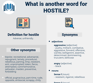 hostile, synonym hostile, another word for hostile, words like hostile, thesaurus hostile