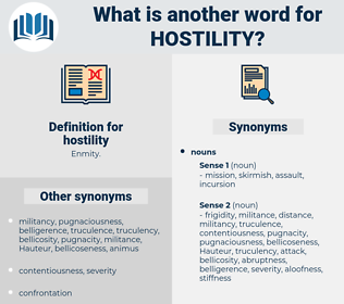 hostility, synonym hostility, another word for hostility, words like hostility, thesaurus hostility