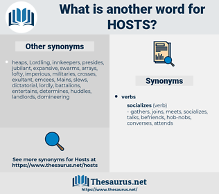 hosts, synonym hosts, another word for hosts, words like hosts, thesaurus hosts