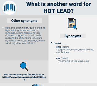 hot lead, synonym hot lead, another word for hot lead, words like hot lead, thesaurus hot lead