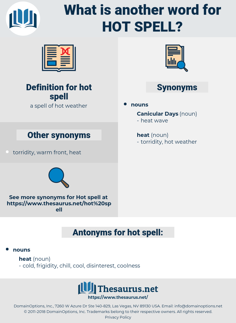 hot spell, synonym hot spell, another word for hot spell, words like hot spell, thesaurus hot spell