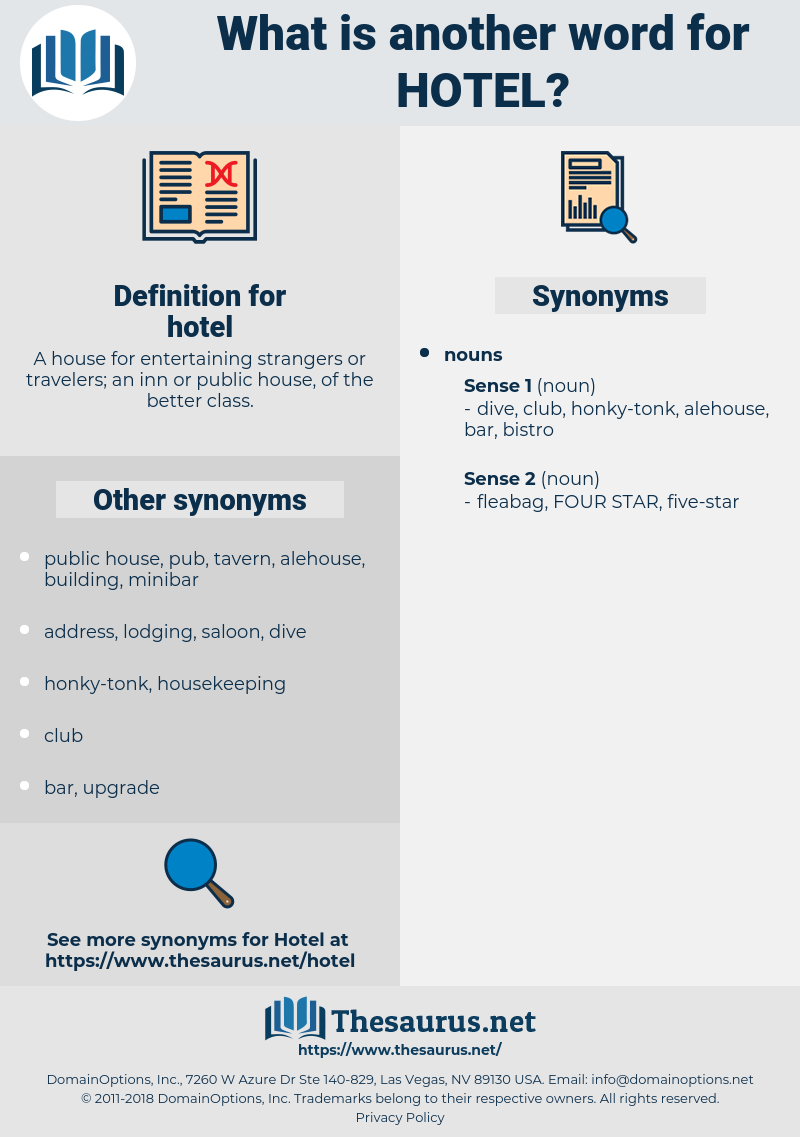 hotel, synonym hotel, another word for hotel, words like hotel, thesaurus hotel