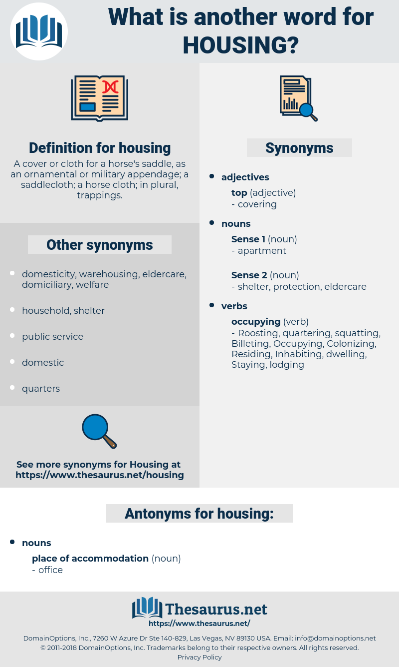 housing, synonym housing, another word for housing, words like housing, thesaurus housing