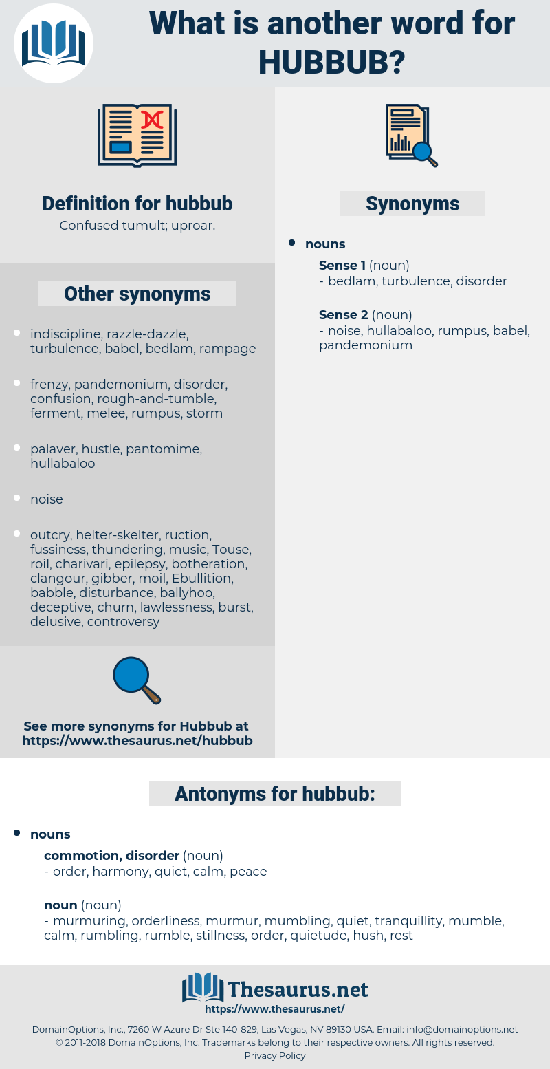 hubbub, synonym hubbub, another word for hubbub, words like hubbub, thesaurus hubbub