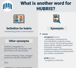 hubris, synonym hubris, another word for hubris, words like hubris, thesaurus hubris