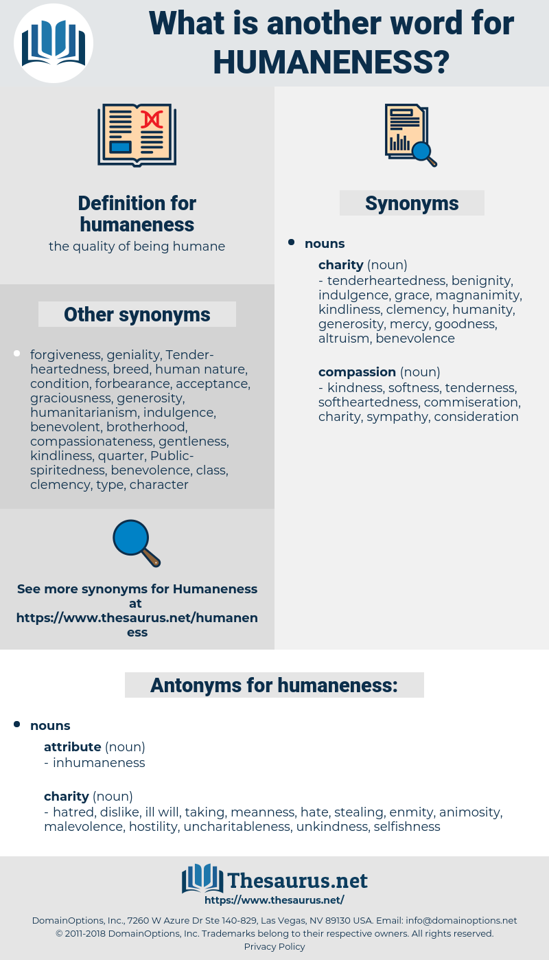 humaneness, synonym humaneness, another word for humaneness, words like humaneness, thesaurus humaneness