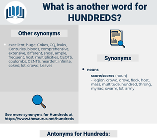 Hundreds, synonym Hundreds, another word for Hundreds, words like Hundreds, thesaurus Hundreds