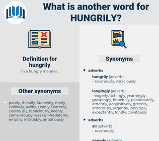 hungrily, synonym hungrily, another word for hungrily, words like hungrily, thesaurus hungrily