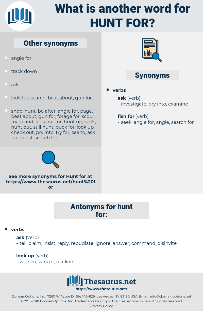 hunt for, synonym hunt for, another word for hunt for, words like hunt for, thesaurus hunt for