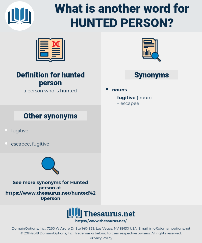 hunted person, synonym hunted person, another word for hunted person, words like hunted person, thesaurus hunted person