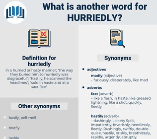 hurriedly, synonym hurriedly, another word for hurriedly, words like hurriedly, thesaurus hurriedly